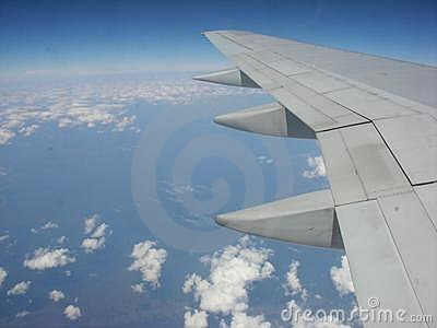 Airplane wing in the atmosphere