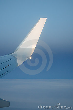 Airplane wing with sky