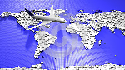 Airplane and world map
