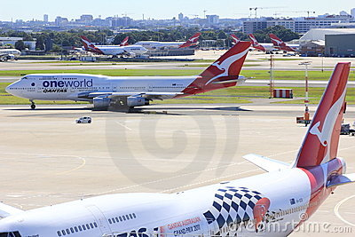 Qantas airplanes in airport scenery Editorial Image