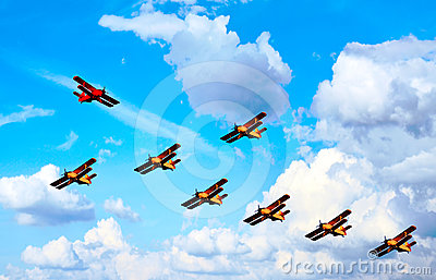 Airplanes, blue  sky, abstract - in opposition