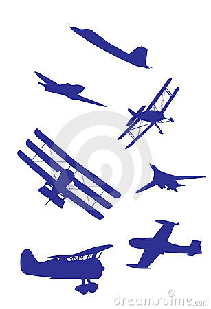Airplanes silhouettes vector set.