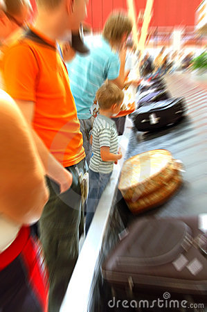 Airport arrival baggage blurred