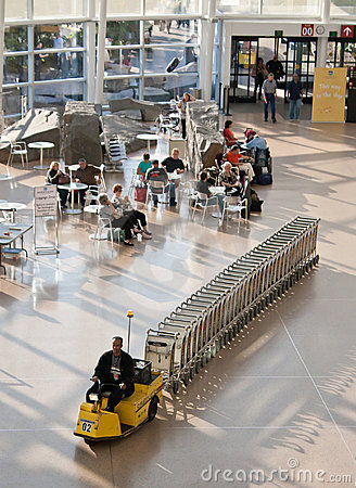 Airport Baggage Cart Hauler Editorial Stock Image