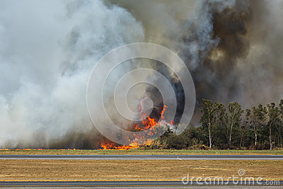 Airport Brush Fire Editorial Photography