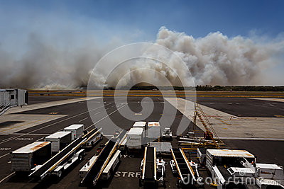 Airport Brush Fire in El Salvadore, Central America Editorial Image