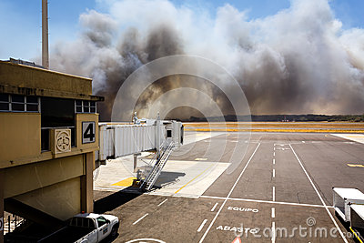 Airport Brush Fire in El Salvadore, Central America Editorial Stock Image