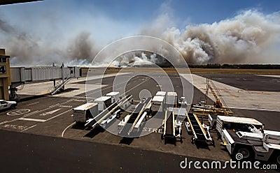 Airport Brush Fire in El Salvadore, Central America Editorial Photo