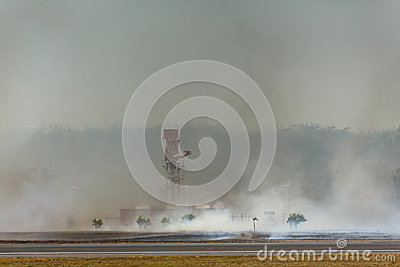 Airport Brush Fire reaches Radar Tower Editorial Stock Photo