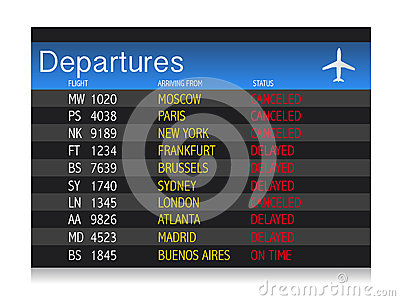 Airport crisis departure table - delayed  canceled