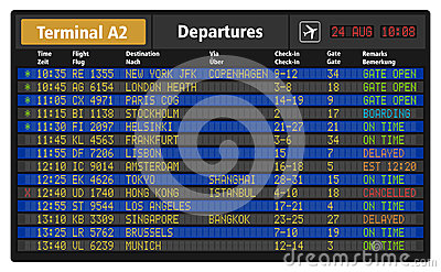 Airport departure board Vector Illustration
