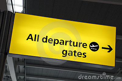 Airport departure gate sign
