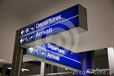 Airport departures and arrivals sign