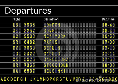 Airport Departures Board Royalty Free Stock Photos Image