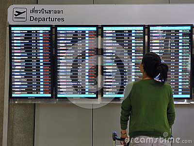 Airport Departures Board Editorial Stock Photo