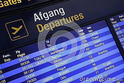Airport departures board Editorial Photo