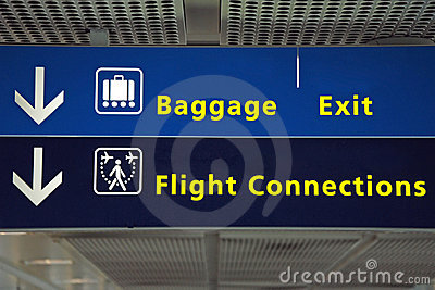 Airport direction flight sign