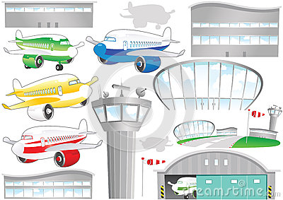Airport elements Vector Illustration