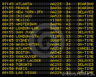 Airport flight schedule sign Editorial Image