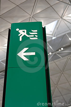 Airport green exit sign