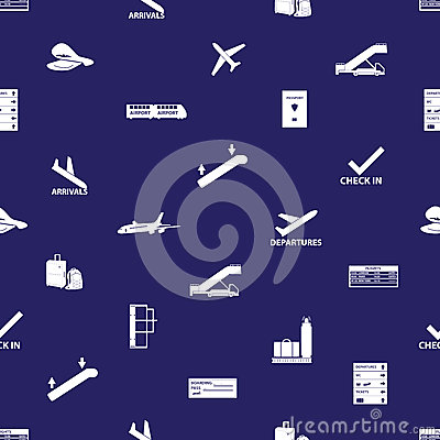 Airport icons blue and white pattern eps10