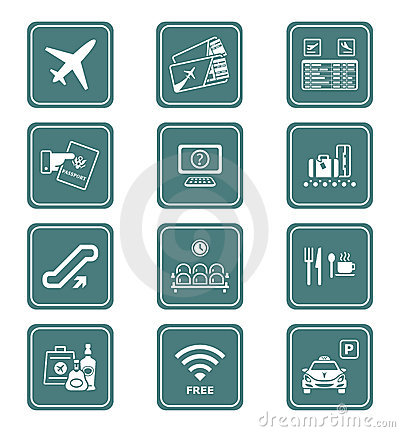 Free Airport Icons | TEAL Series Royalty Free Stock Image - 19676116
