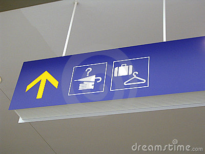 Airport lost-and-found and baggage check signs