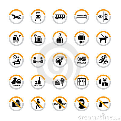 Free Airport Pictograms Royalty Free Stock Photo - 19224495