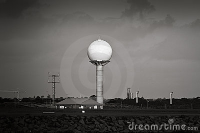 Airport radar tower in black and white