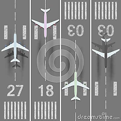 Airport runways set Vector Illustration