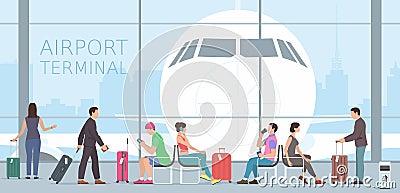 Airport terminal Vector Illustration