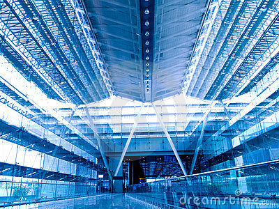 Airport Terminal Hall Blue Tint