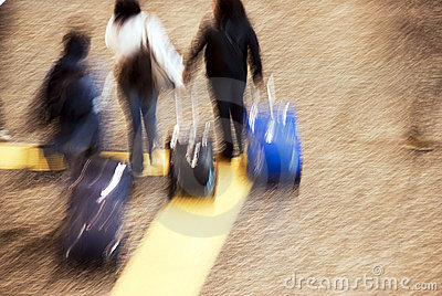 Airport tourists in movement