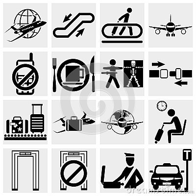 Airport vector icons set. Elegant series icons and
