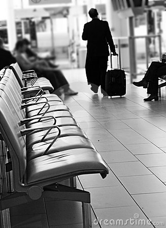 Airport travel lounge & man traveling