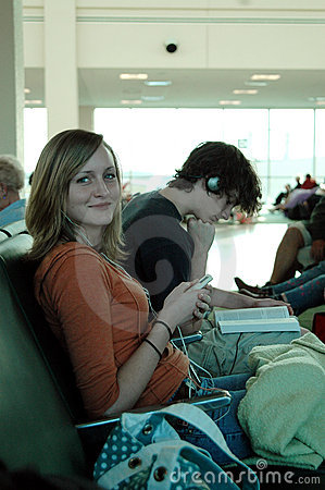 Airport waiting teens
