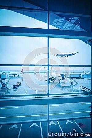 Airport window outside scene