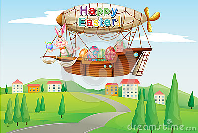 An airship with colorful eggs and two bunnies