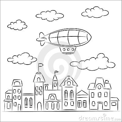 Airship over the old town