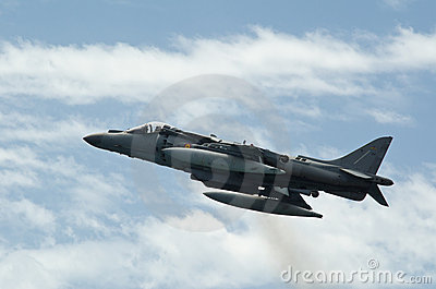 Airshow of the aircraft Harrier AV-B8 Editorial Photography