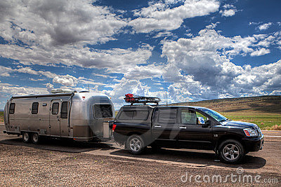 Airstream trailer and van