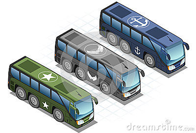 Aisometric set of military bus