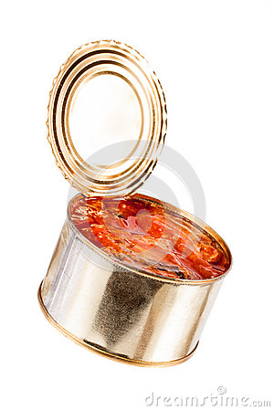 Ajar metallic can with food