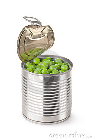 Ajar metallic can with green peas