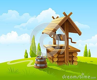 Ajardine com o poço e a cubeta de madeira velhos da água
