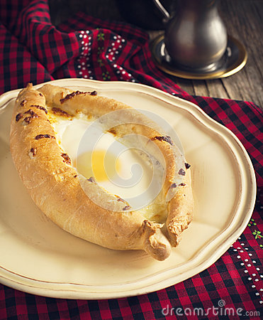Free Ajarian Khachapuri - Traditional Dish Of Georgian Cuisine. Royalty Free Stock Photography - 39961427