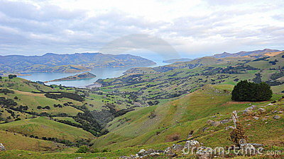 Akaroa Harbor and lake