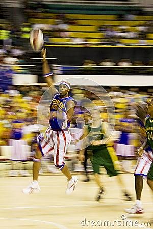 Akci koszykówki zamazani globetrotters Harlem Obraz Stock Editorial