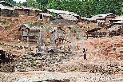 Akha village in Phongsali, Laos Editorial Photography