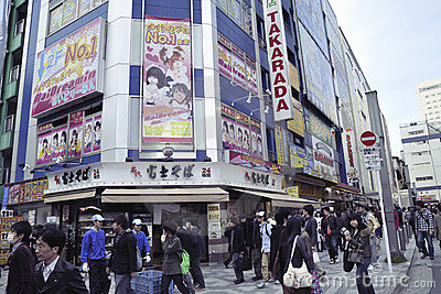 Akihabara crowds Editorial Stock Image